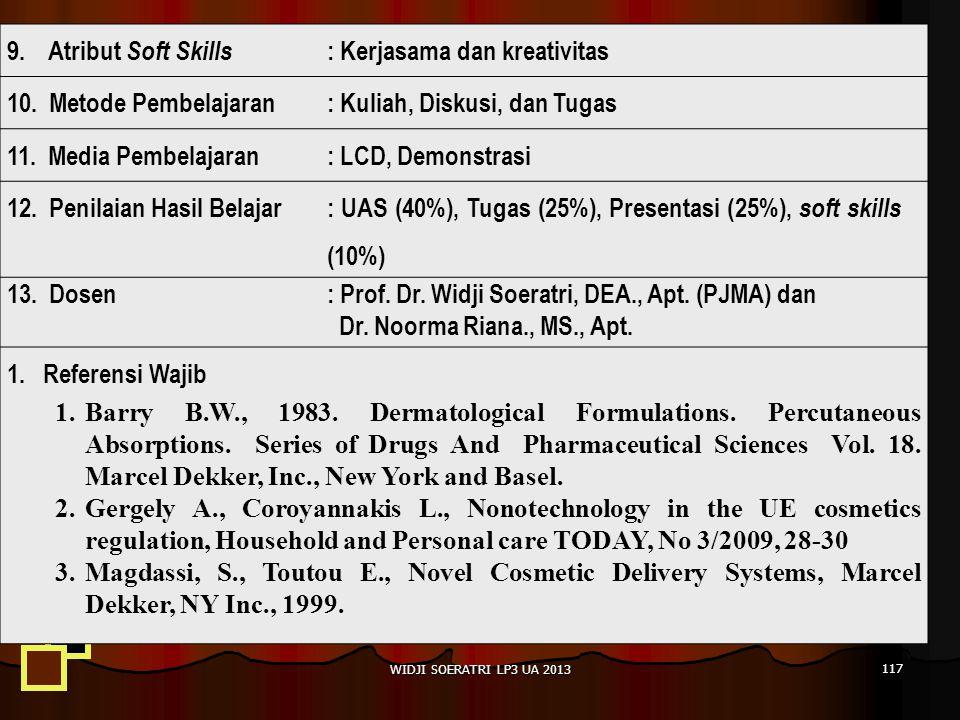 WIDJI SOERATRI LP3 UA 2013 117 9.Atribut Soft Skills : Kerjasama dan kreativitas 10.