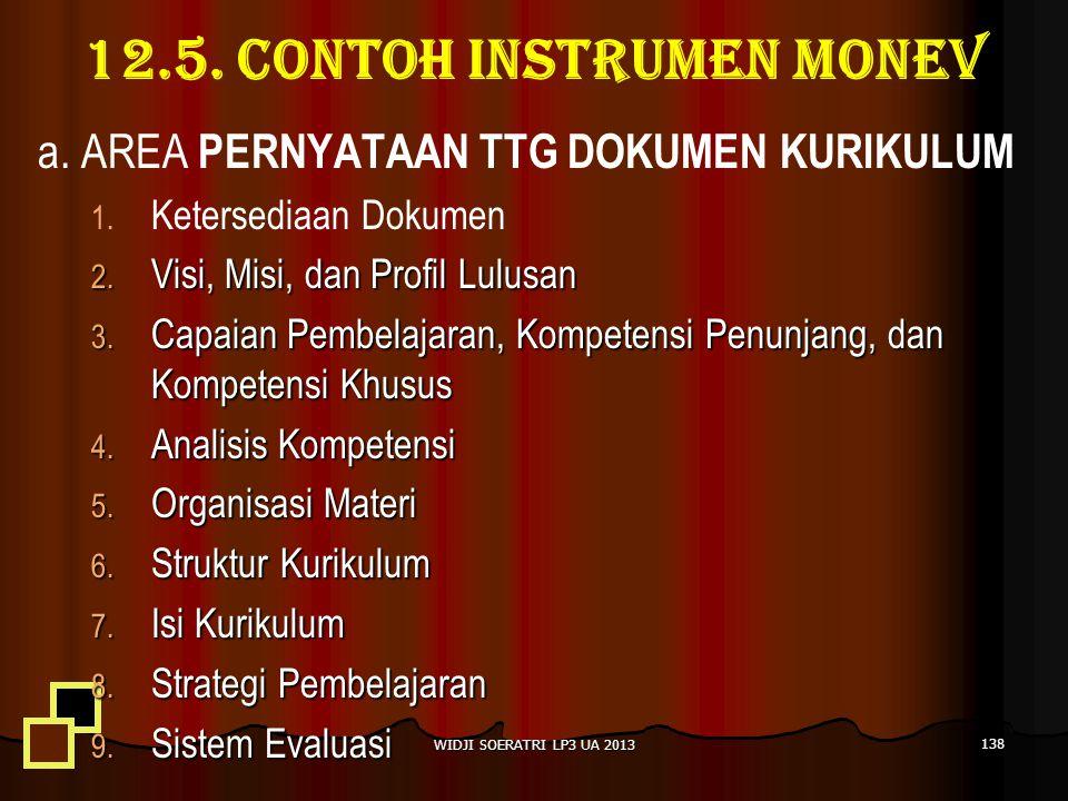 12.5.Contoh instrumen monev a. AREA PERNYATAAN TTG DOKUMEN KURIKULUM 1.