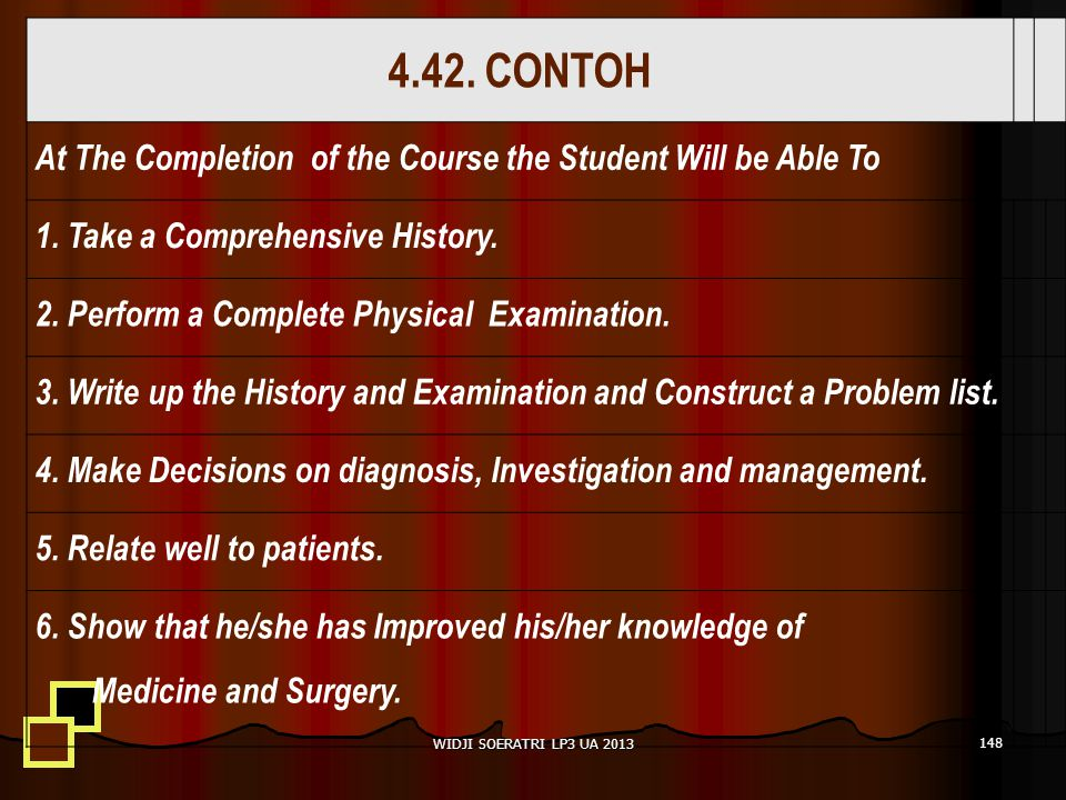 4.42. CONTOH At The Completion of the Course the Student Will be Able To 1. Take a Comprehensive History. 2. Perform a Complete Physical Examination.