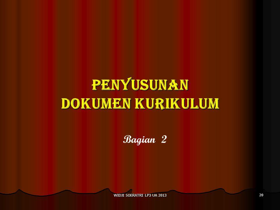 PENYUSUNAN DOKUMEN KURIKULUM Bagian 2 20 WIDJI SOERATRI LP3 UA 2013