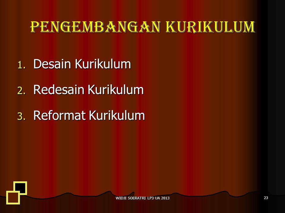 PENGEMBANGAN KURIKULUM 1.Desain Kurikulum 2. Redesain Kurikulum 3.