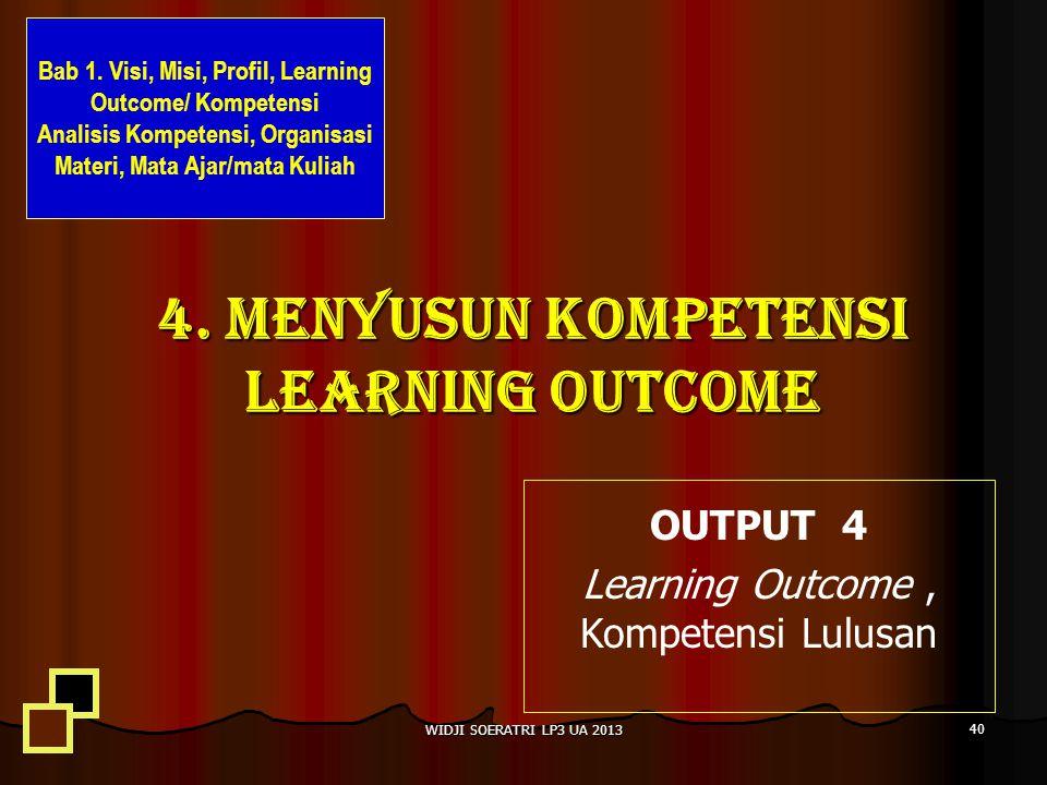 4. MENYUSUN KOMPETENSI LEARNING OUTCOME OUTPUT 4 Learning Outcome, Kompetensi Lulusan 40 WIDJI SOERATRI LP3 UA 2013 Bab 1. Visi, Misi, Profil, Learnin