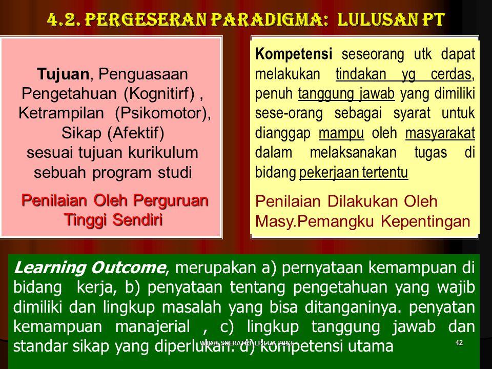 4.2. PERGESERAN PARADIGMA: LULUSAN PT Tujuan, Penguasaan Pengetahuan (Kognitirf), Ketrampilan (Psikomotor), Sikap (Afektif) sesuai tujuan kurikulum se