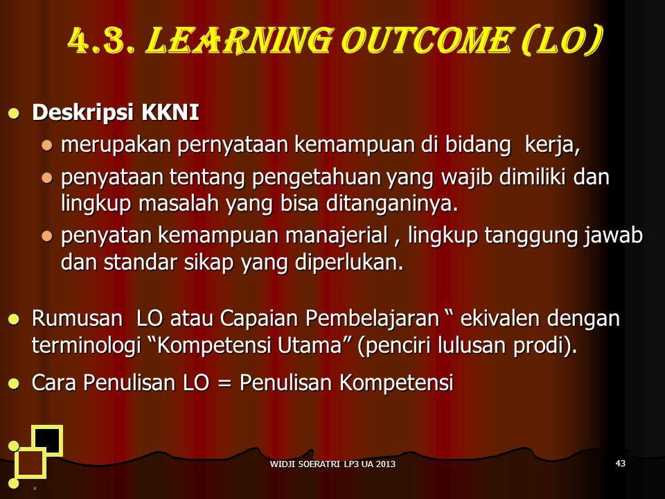 4.3. LEARNING OUTCOME (LO) Deskripsi KKNI Deskripsi KKNI merupakan pernyataan kemampuan di bidang kerja, merupakan pernyataan kemampuan di bidang kerj