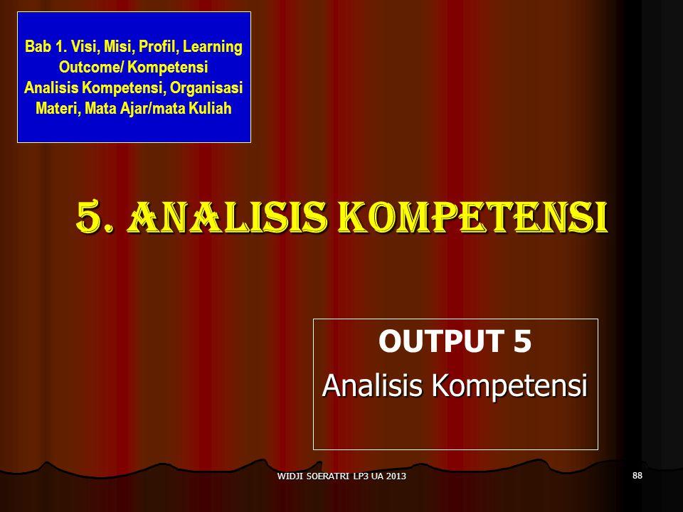 5.Analisis kompetensi OUTPUT 5 Analisis Kompetensi 88 WIDJI SOERATRI LP3 UA 2013 Bab 1.