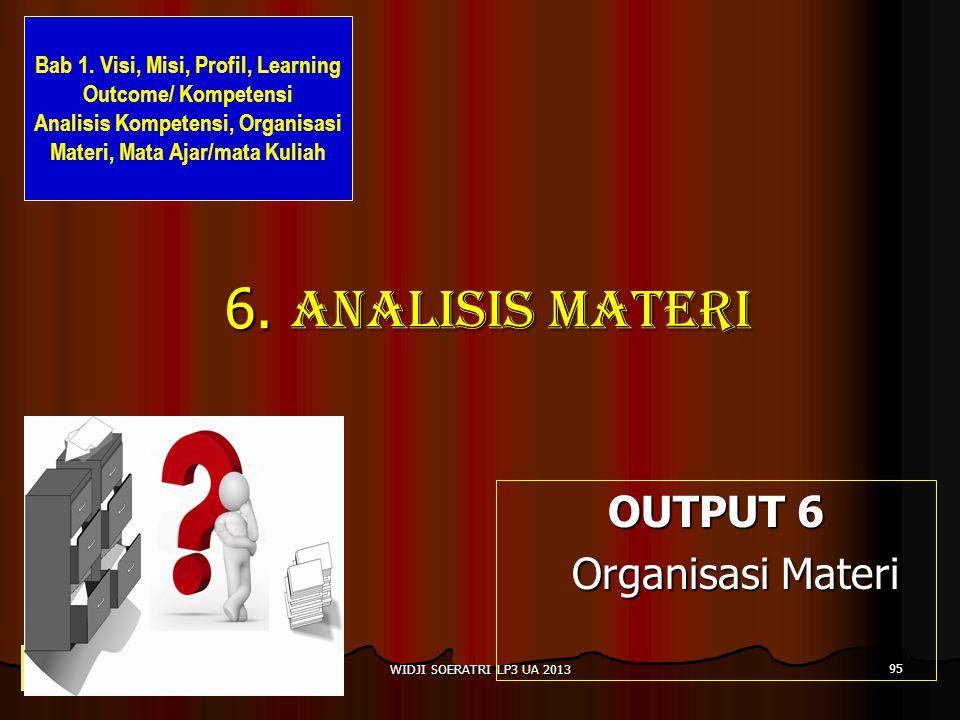 6. Analisis materi OUTPUT 6 Organisasi Materi Organisasi Materi 95 WIDJI SOERATRI LP3 UA 2013 Bab 1. Visi, Misi, Profil, Learning Outcome/ Kompetensi