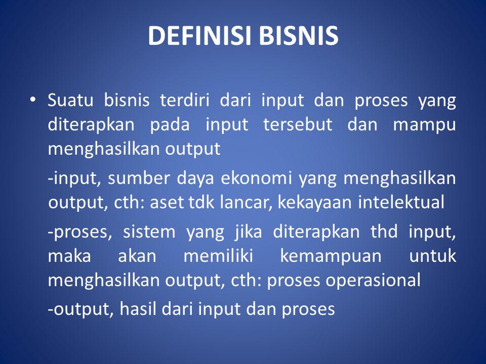 DEFINISI BISNIS Suatu bisnis terdiri dari input dan proses yang diterapkan pada input tersebut dan mampu menghasilkan output -input, sumber daya ekono