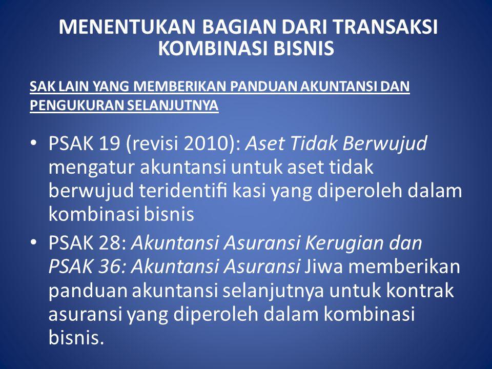 MENENTUKAN BAGIAN DARI TRANSAKSI KOMBINASI BISNIS SAK LAIN YANG MEMBERIKAN PANDUAN AKUNTANSI DAN PENGUKURAN SELANJUTNYA PSAK 19 (revisi 2010): Aset Ti