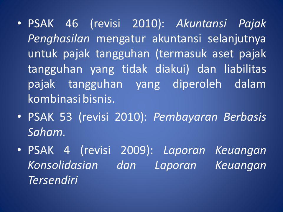 PSAK 46 (revisi 2010): Akuntansi Pajak Penghasilan mengatur akuntansi selanjutnya untuk pajak tangguhan (termasuk aset pajak tangguhan yang tidak diak