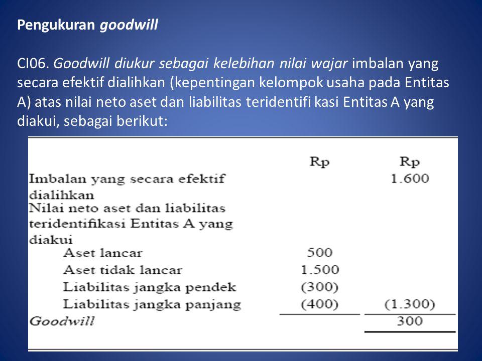 Pengukuran goodwill CI06. Goodwill diukur sebagai kelebihan nilai wajar imbalan yang secara efektif dialihkan (kepentingan kelompok usaha pada Entitas