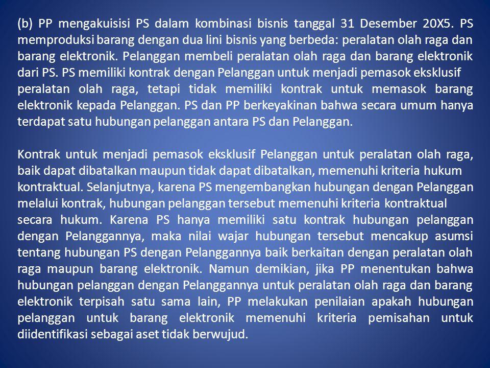 (b) PP mengakuisisi PS dalam kombinasi bisnis tanggal 31 Desember 20X5. PS memproduksi barang dengan dua lini bisnis yang berbeda: peralatan olah raga