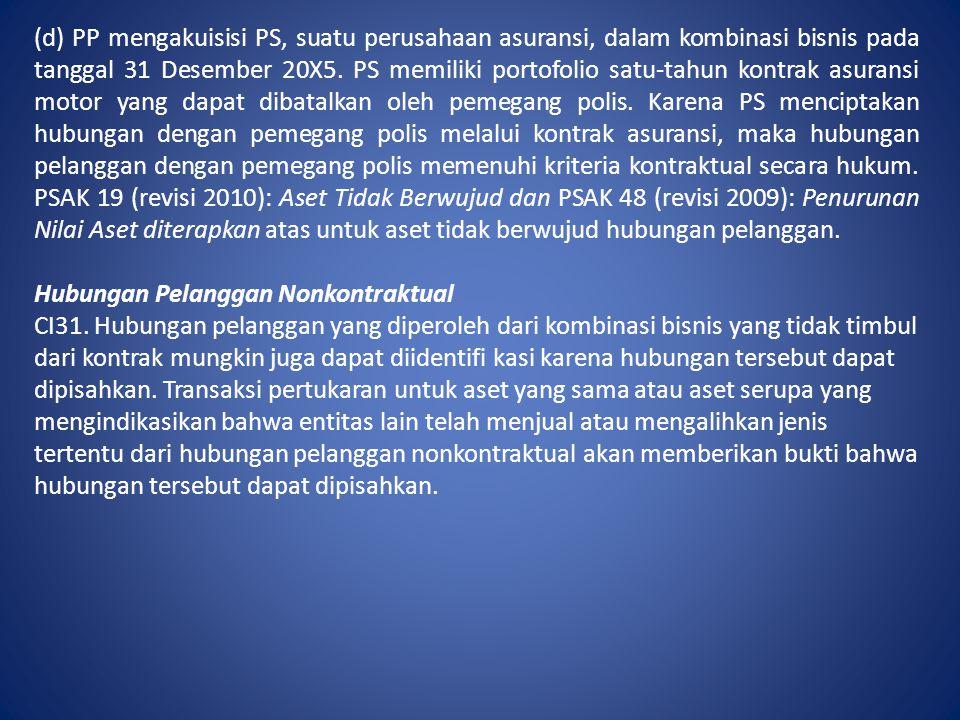 (d) PP mengakuisisi PS, suatu perusahaan asuransi, dalam kombinasi bisnis pada tanggal 31 Desember 20X5. PS memiliki portofolio satu-tahun kontrak asu