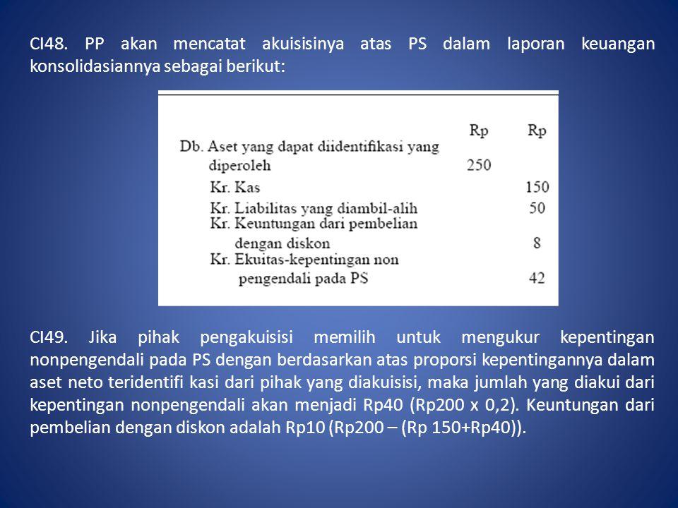 CI48. PP akan mencatat akuisisinya atas PS dalam laporan keuangan konsolidasiannya sebagai berikut: CI49. Jika pihak pengakuisisi memilih untuk menguk