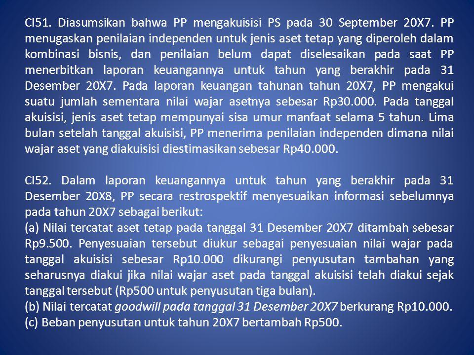 CI51. Diasumsikan bahwa PP mengakuisisi PS pada 30 September 20X7. PP menugaskan penilaian independen untuk jenis aset tetap yang diperoleh dalam komb
