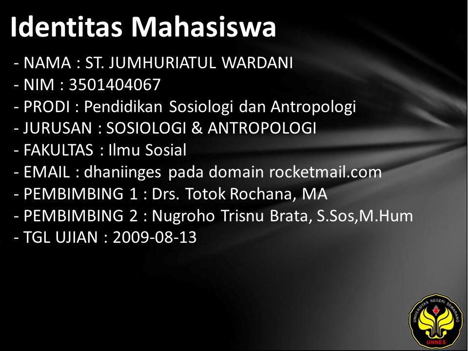 Identitas Mahasiswa - NAMA : ST.