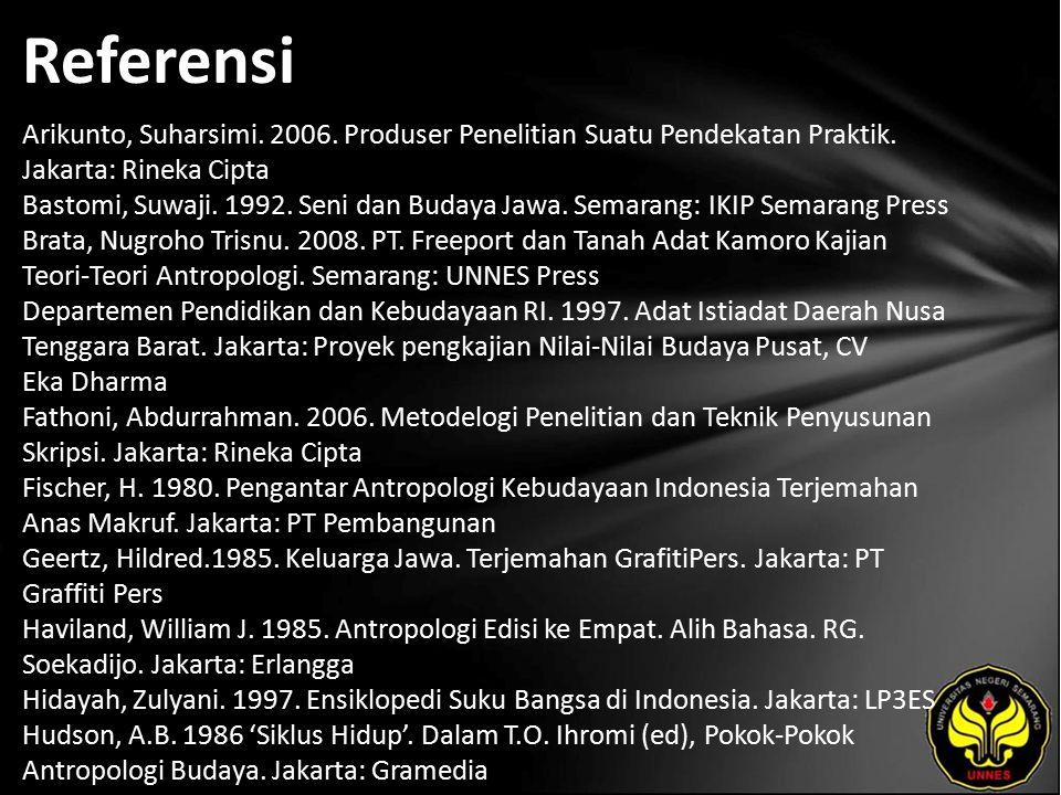 Referensi Arikunto, Suharsimi. 2006. Produser Penelitian Suatu Pendekatan Praktik.