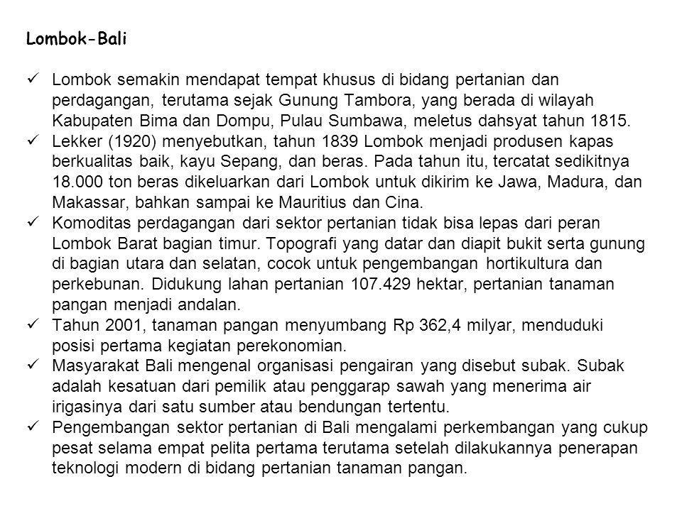 Lombok-Bali Lombok semakin mendapat tempat khusus di bidang pertanian dan perdagangan, terutama sejak Gunung Tambora, yang berada di wilayah Kabupaten