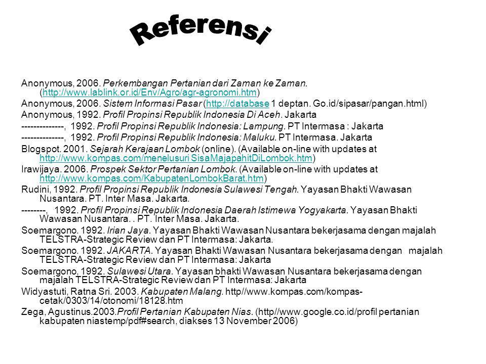 Anonymous, 2006. Perkembangan Pertanian dari Zaman ke Zaman. (http://www.lablink.or.id/Env/Agro/agr-agronomi.htm)http://www.lablink.or.id/Env/Agro/agr