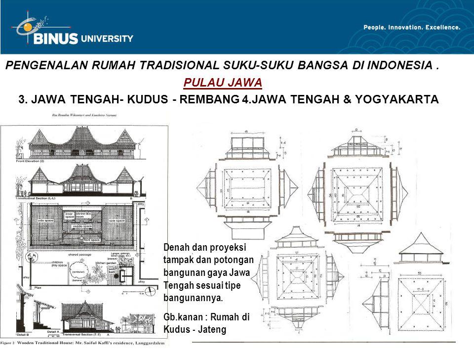 PENGENALAN RUMAH TRADISIONAL SUKU-SUKU BANGSA DI INDONESIA. PULAU JAWA 3. JAWA TENGAH- KUDUS - REMBANG4.JAWA TENGAH & YOGYAKARTA Denah dan proyeksi ta