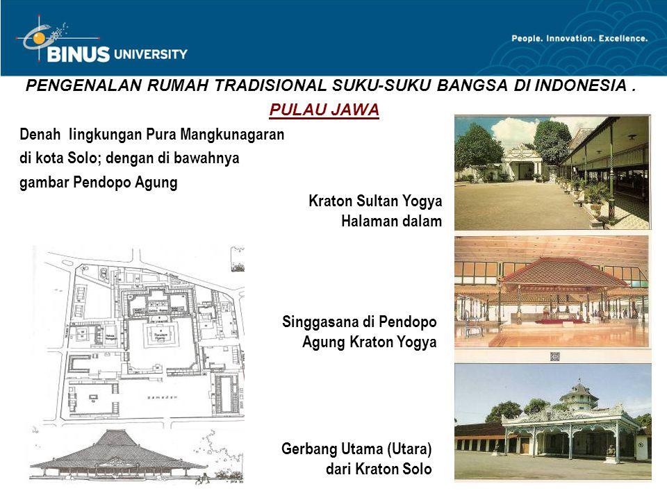 PENGENALAN RUMAH TRADISIONAL SUKU-SUKU BANGSA DI INDONESIA. PULAU JAWA Denah lingkungan Pura Mangkunagaran di kota Solo; dengan di bawahnya gambar Pen