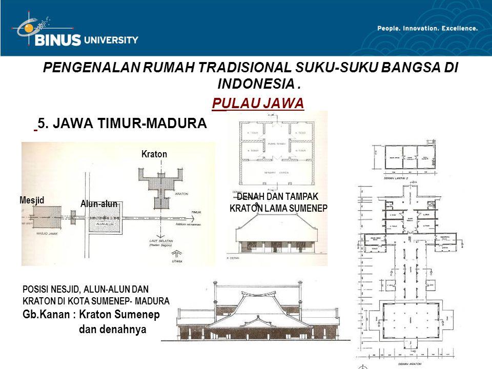 PENGENALAN RUMAH TRADISIONAL SUKU-SUKU BANGSA DI INDONESIA. PULAU JAWA 5. JAWA TIMUR-MADURA Mesjid Alun-alun Kraton POSISI NESJID, ALUN-ALUN DAN KRATO