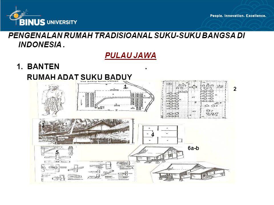 PENGENALAN RUMAH TRADISIOANAL SUKU-SUKU BANGSA DI INDONESIA. PULAU JAWA 1. BANTEN. RUMAH ADAT SUKU BADUY 2 3 4 5 6a-b 1
