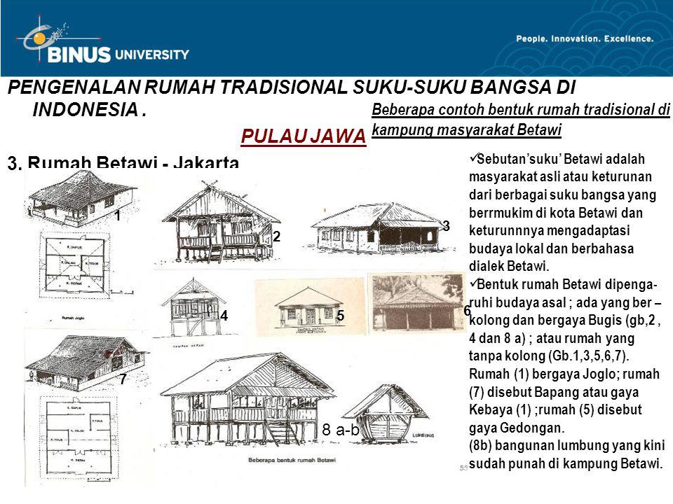 PENGENALAN RUMAH TRADISIONAL SUKU-SUKU BANGSA DI INDONESIA. PULAU JAWA 3. Rumah Betawi - Jakarta 1 2 3 45 6 7 8 a-b Beberapa contoh bentuk rumah tradi