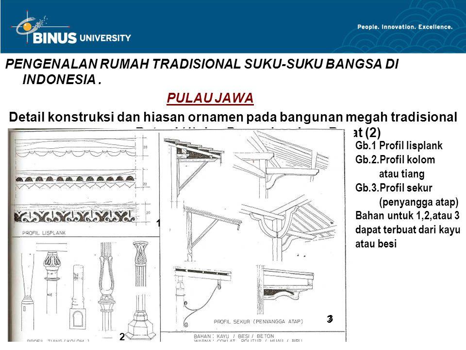 PENGENALAN RUMAH TRADISIONAL SUKU-SUKU BANGSA DI INDONESIA. PULAU JAWA Detail konstruksi dan hiasan ornamen pada bangunan megah tradisional gaya Betaw