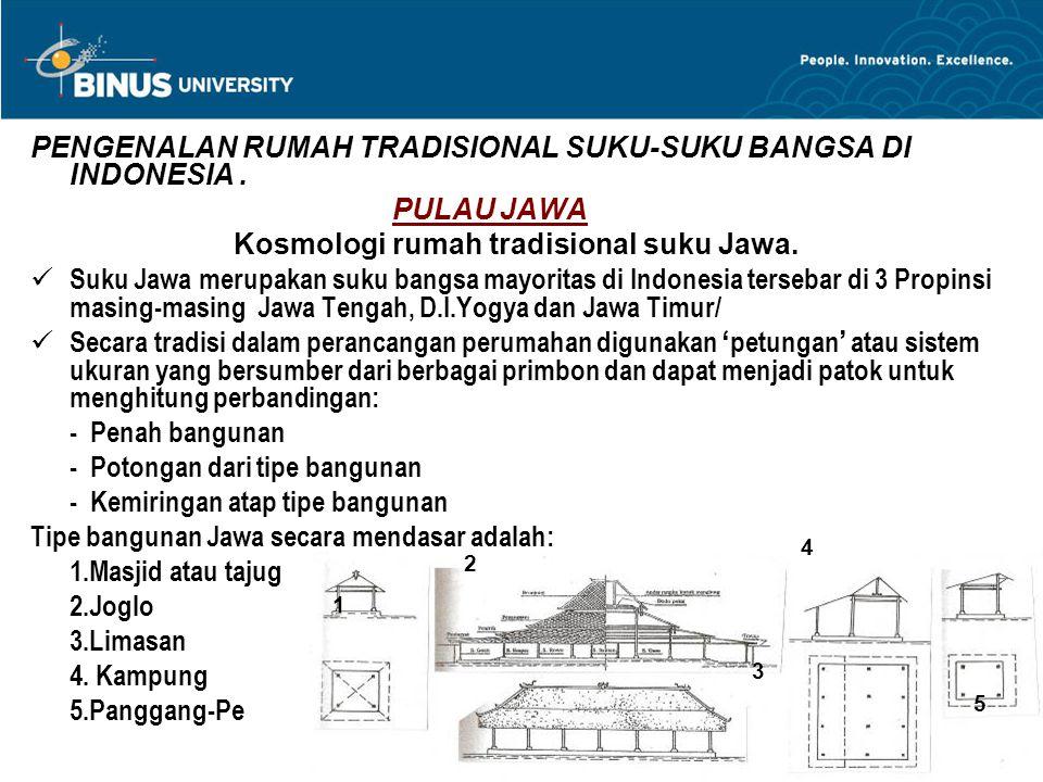PENGENALAN RUMAH TRADISIONAL SUKU-SUKU BANGSA DI INDONESIA. PULAU JAWA Kosmologi rumah tradisional suku Jawa. Suku Jawa merupakan suku bangsa mayorita