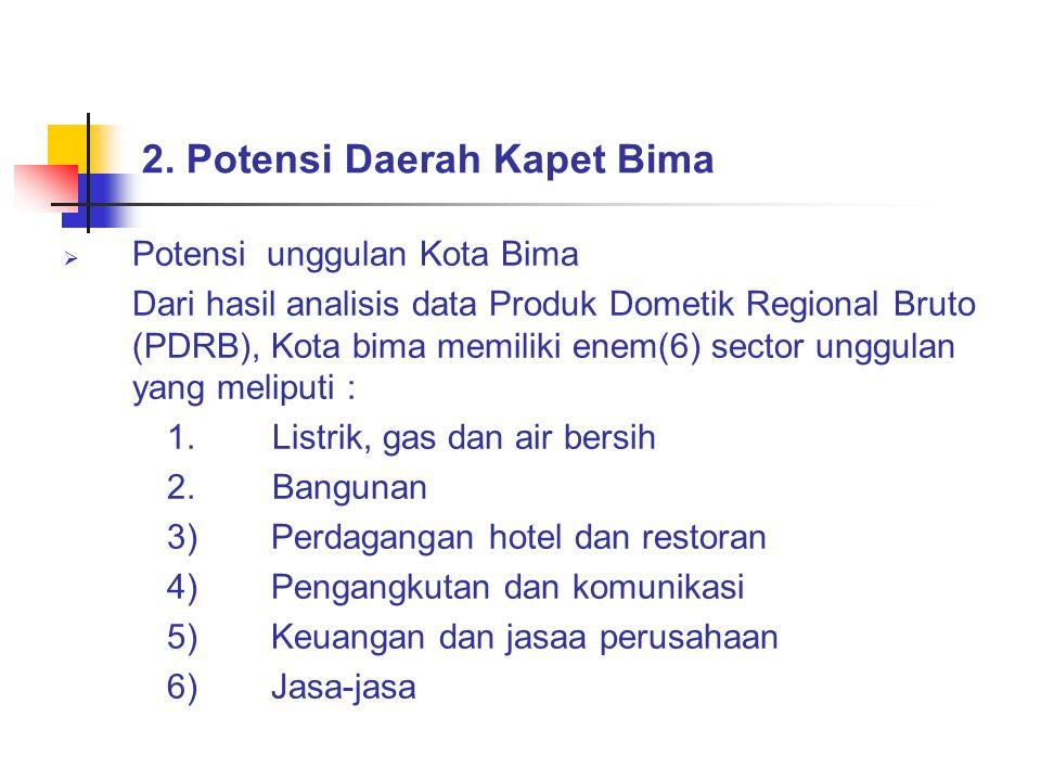  Potensi unggulan Kabupaten Bima Berdasarkan hasil analisis data Produk Dometik Regional Bruto (PDRB) Kabupaten Bimamemiliki tiga (3) sector unggulan yang meliputi: 1)Pertanian 2)Perdagangan hotel dan restoran 3)jasa-jasa