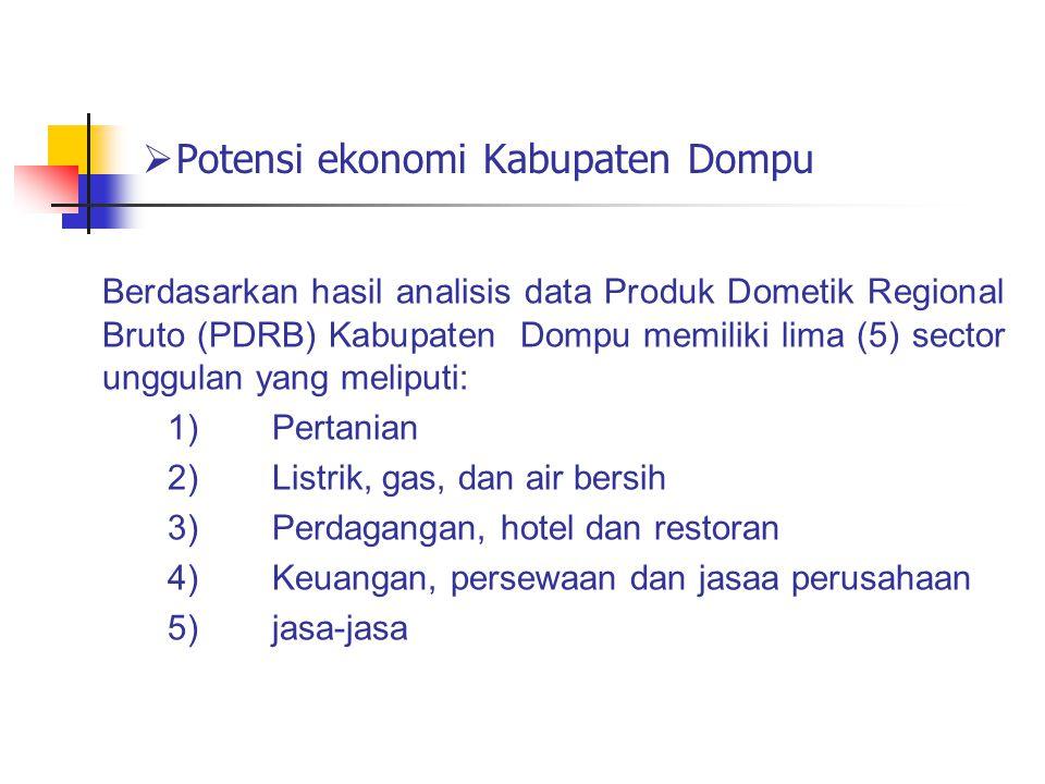  Potensi ekonomi Kabupaten Dompu Berdasarkan hasil analisis data Produk Dometik Regional Bruto (PDRB) Kabupaten Dompu memiliki lima (5) sector unggul