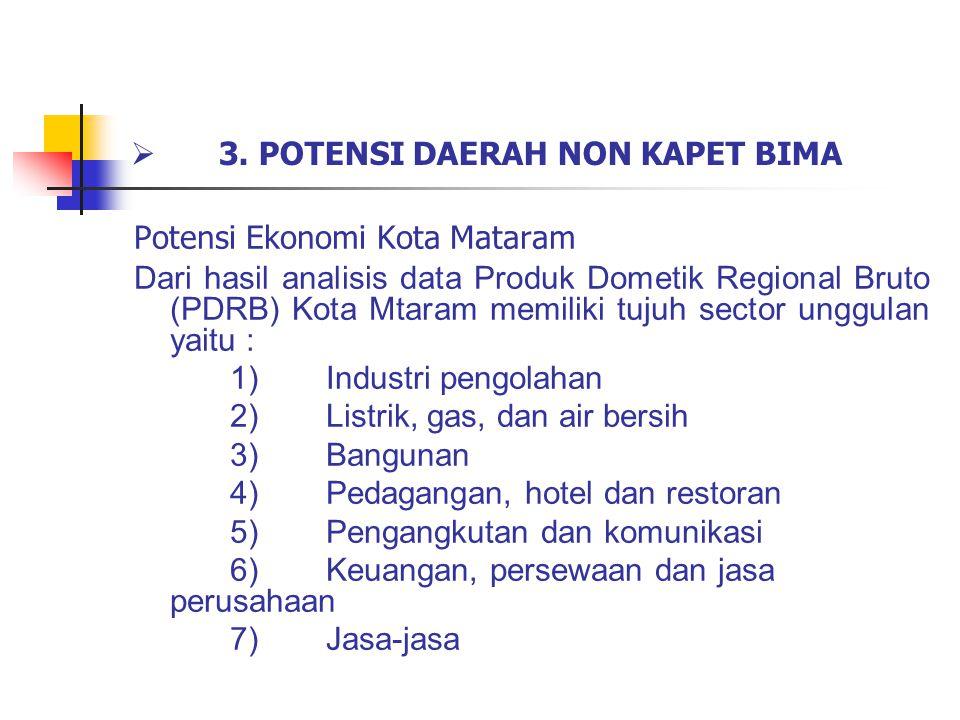  3. POTENSI DAERAH NON KAPET BIMA Potensi Ekonomi Kota Mataram Dari hasil analisis data Produk Dometik Regional Bruto (PDRB) Kota Mtaram memiliki tuj