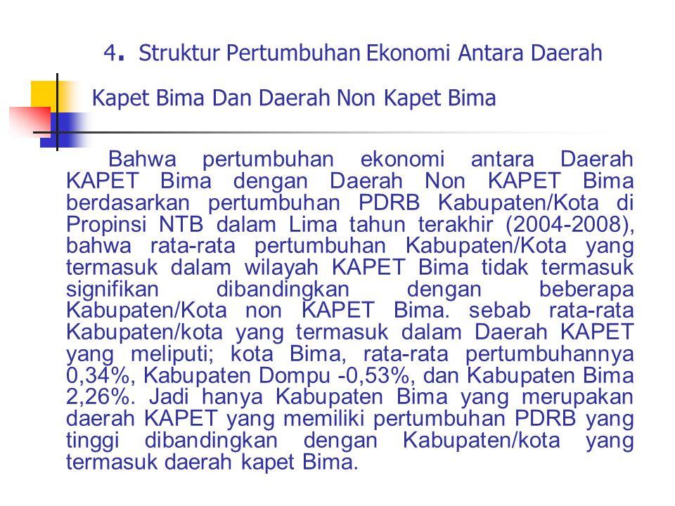 4. Struktur Pertumbuhan Ekonomi Antara Daerah Kapet Bima Dan Daerah Non Kapet Bima Bahwa pertumbuhan ekonomi antara Daerah KAPET Bima dengan Daerah No