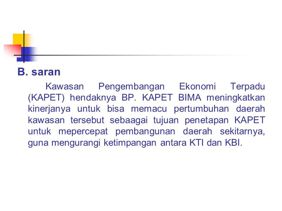 B. saran Kawasan Pengembangan Ekonomi Terpadu (KAPET) hendaknya BP. KAPET BIMA meningkatkan kinerjanya untuk bisa memacu pertumbuhan daerah kawasan te