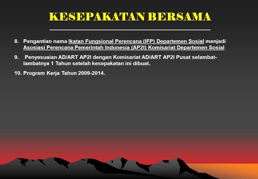 KESEPAKATAN BERSAMA 8.Pengantian nama Ikatan Fungsional Perencana (IFP) Departemen Sosial menjadi Asosiasi Perencana Pemerintah Indonesia (AP2I) Komisariat Departemen Sosial 9.