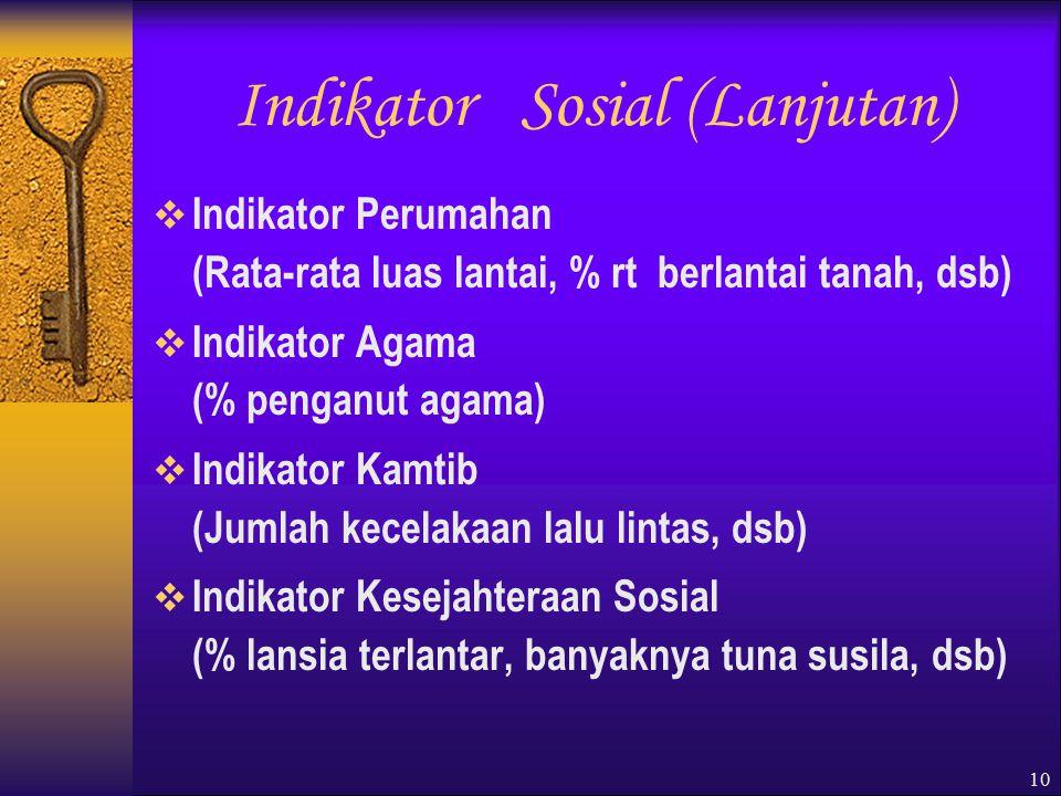10 Indikator Sosial (Lanjutan)  Indikator Perumahan (Rata-rata luas lantai, % rt berlantai tanah, dsb)  Indikator Agama (% penganut agama)  Indikator Kamtib (Jumlah kecelakaan lalu lintas, dsb)  Indikator Kesejahteraan Sosial (% lansia terlantar, banyaknya tuna susila, dsb)