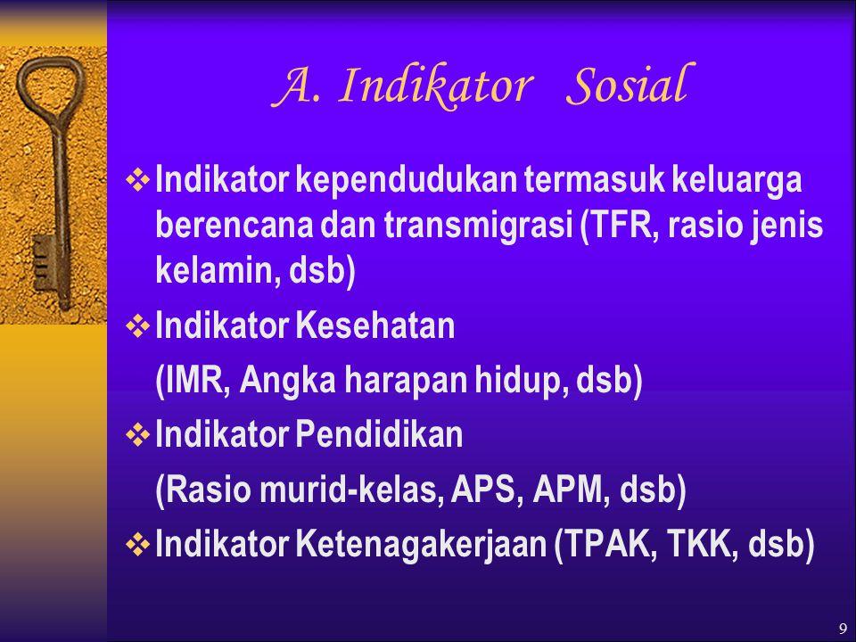 9 A. Indikator Sosial  Indikator kependudukan termasuk keluarga berencana dan transmigrasi (TFR, rasio jenis kelamin, dsb)  Indikator Kesehatan (IMR