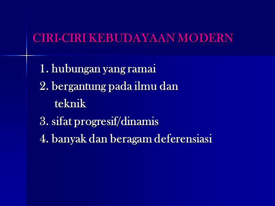 CIRI-CIRI KEBUDAYAAN MODERN 1. hubungan yang ramai 2. bergantung pada ilmu dan teknik teknik 3. sifat progresif/dinamis 4. banyak dan beragam deferens