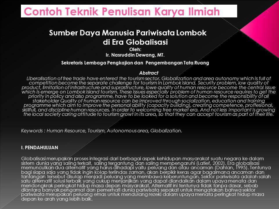 Sumber Daya Manusia Pariwisata Lombok di Era Globalisasi Oleh: Ir.