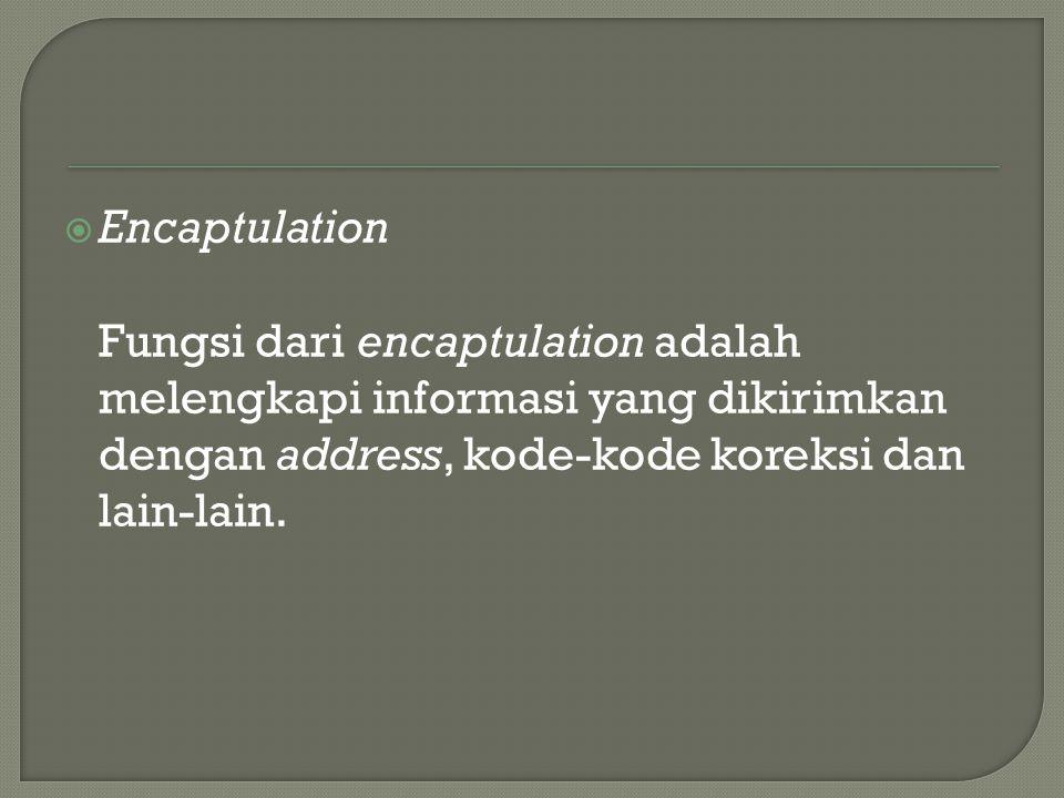  Encaptulation Fungsi dari encaptulation adalah melengkapi informasi yang dikirimkan dengan address, kode-kode koreksi dan lain-lain.
