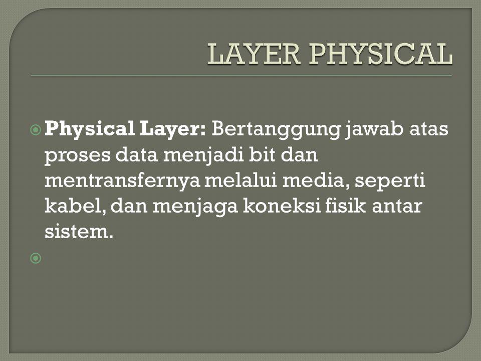  Physical Layer: Bertanggung jawab atas proses data menjadi bit dan mentransfernya melalui media, seperti kabel, dan menjaga koneksi fisik antar sistem.