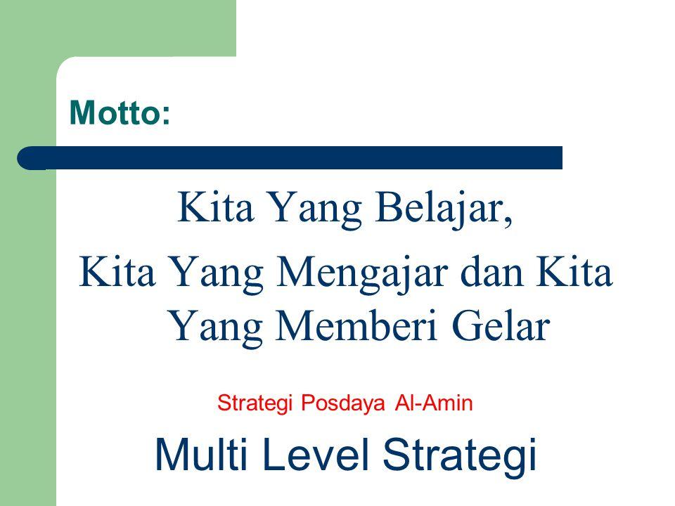 Motto: Kita Yang Belajar, Kita Yang Mengajar dan Kita Yang Memberi Gelar Strategi Posdaya Al-Amin Multi Level Strategi