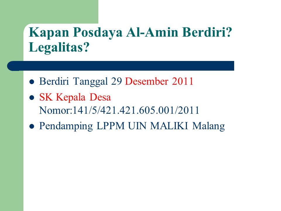 Kapan Posdaya Al-Amin Berdiri? Legalitas? Berdiri Tanggal 29 Desember 2011 SK Kepala Desa Nomor:141/5/421.421.605.001/2011 Pendamping LPPM UIN MALIKI