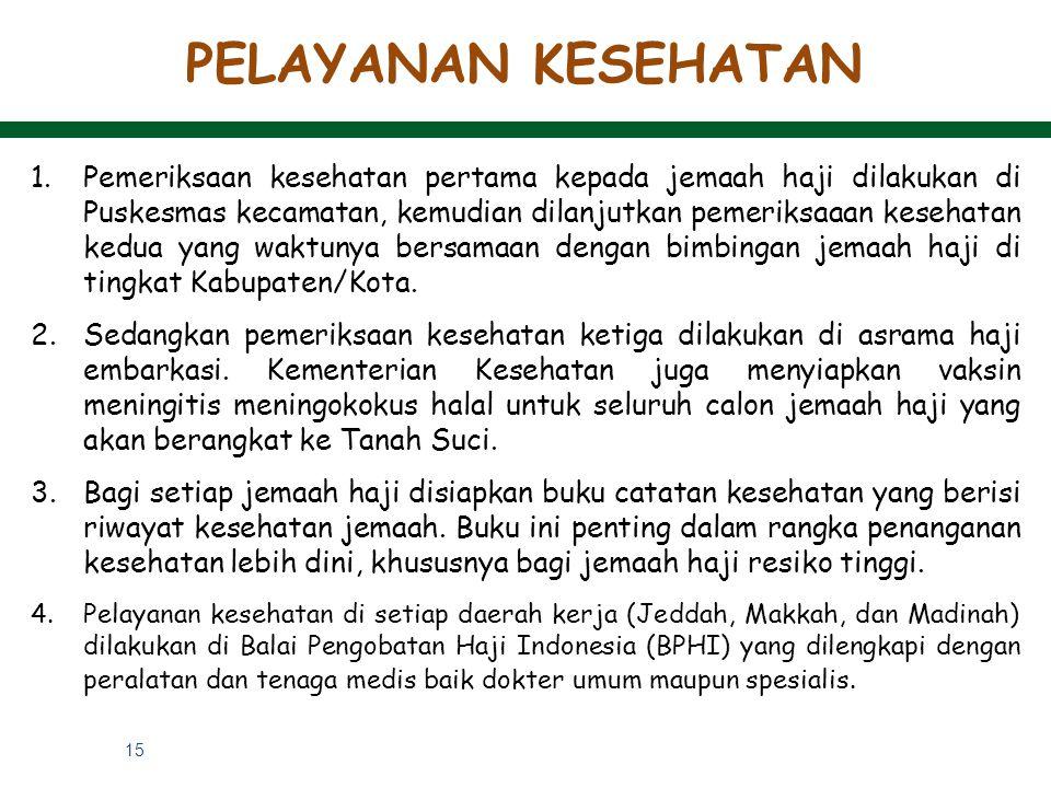 15 PELAYANAN KESEHATAN 1.Pemeriksaan kesehatan pertama kepada jemaah haji dilakukan di Puskesmas kecamatan, kemudian dilanjutkan pemeriksaaan kesehata