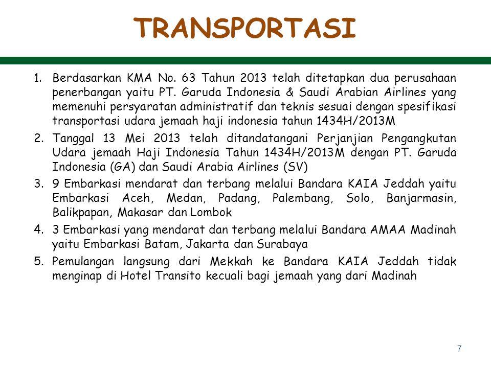 7 1.Berdasarkan KMA No. 63 Tahun 2013 telah ditetapkan dua perusahaan penerbangan yaitu PT. Garuda Indonesia & Saudi Arabian Airlines yang memenuhi pe