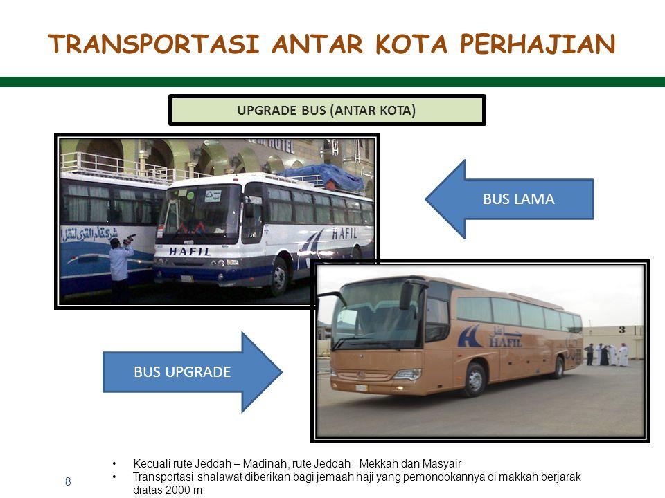 8 TRANSPORTASI ANTAR KOTA PERHAJIAN UPGRADE BUS (ANTAR KOTA) BUS LAMA BUS UPGRADE Kecuali rute Jeddah – Madinah, rute Jeddah - Mekkah dan Masyair Tran
