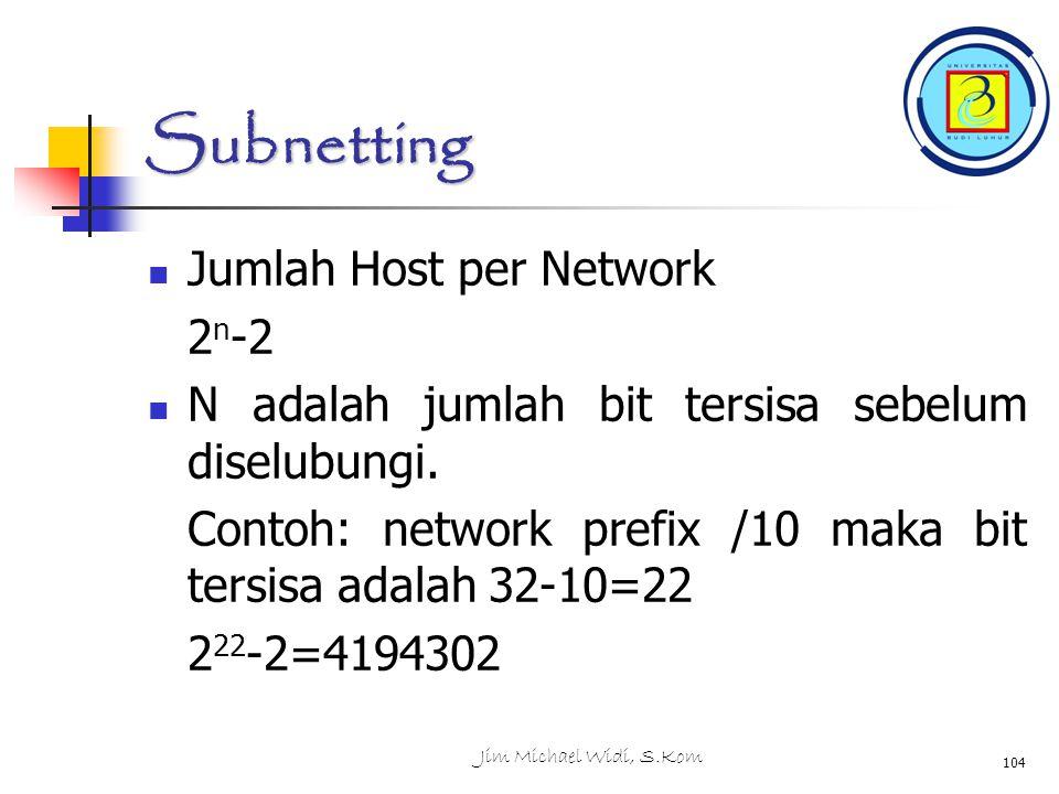 Subnetting Jumlah Host per Network 2 n -2 N adalah jumlah bit tersisa sebelum diselubungi.