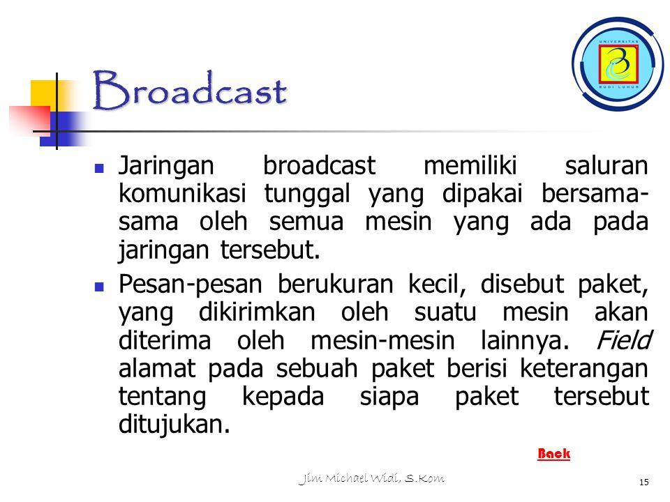 Jim Michael Widi, S.Kom 15 Broadcast Jaringan broadcast memiliki saluran komunikasi tunggal yang dipakai bersama- sama oleh semua mesin yang ada pada jaringan tersebut.