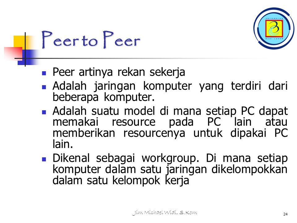 Jim Michael Widi, S.Kom 24 Peer to Peer Peer artinya rekan sekerja Adalah jaringan komputer yang terdiri dari beberapa komputer.