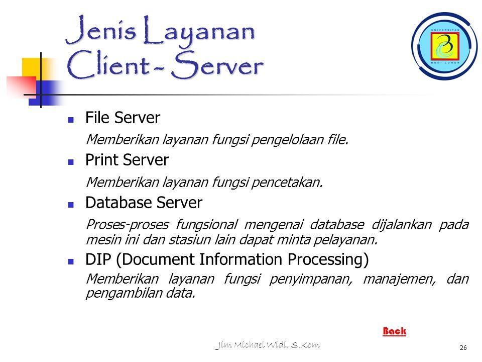 Jim Michael Widi, S.Kom 26 Jenis Layanan Client - Server File Server Memberikan layanan fungsi pengelolaan file.